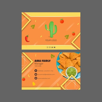 Mexican food horizontal business card template
