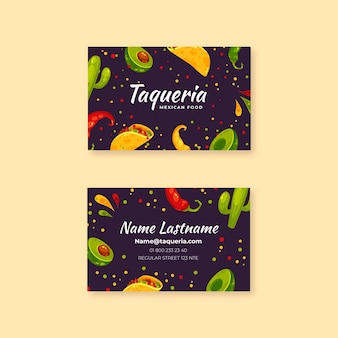 Горизонтальная визитка мексиканской кухни