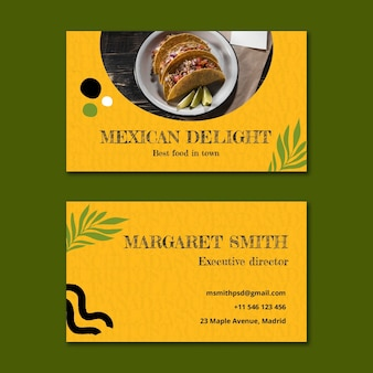 Mexican food horizontal business card