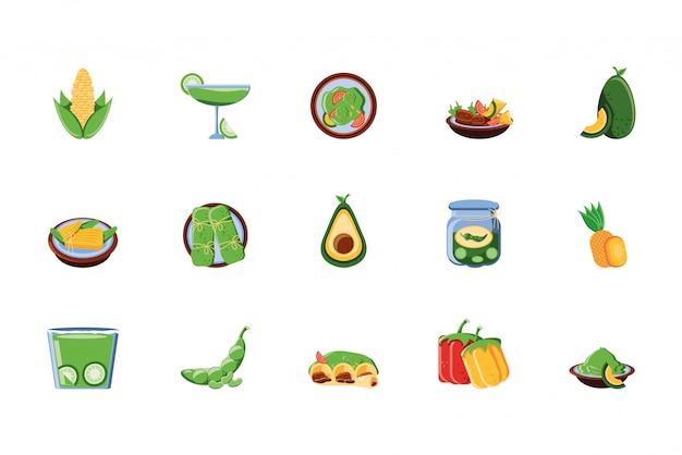 Мексиканская еда значок набор дизайн