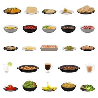 Набор иконок мексиканской кухни. мультфильм набор мексиканской кухни.