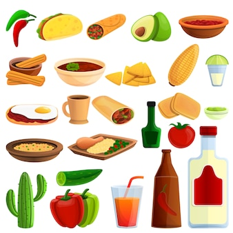 Mexican food icons set, cartoon style