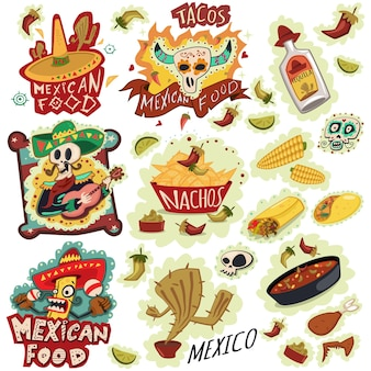 メキシコ料理アイコンベクトルセット。ナチョス、テキーラボトルソンブレロ、ブリトー、チリ、コーン、サボテン、頭蓋骨、ソンブレロなど。手描き漫画イラスト。