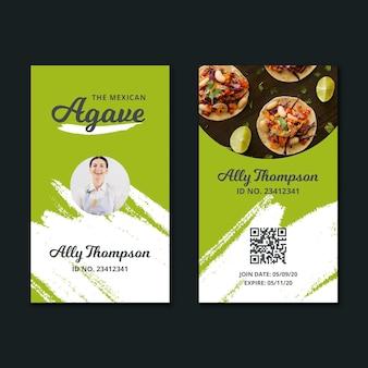 Modello di carta d'identità cibo messicano