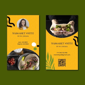 Mexican food id card template