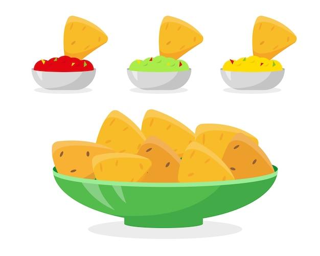 Иллюстрация мексиканской кухни. начос в тарелке и разные соусы к нему.