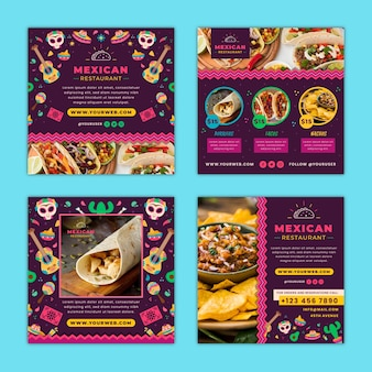Mexican food instagram posts template with photo