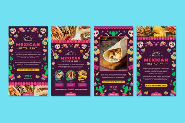 Mexican food instagram stories template with photo