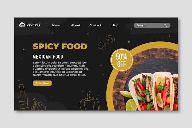 Pagina di destinazione del cibo messicano
