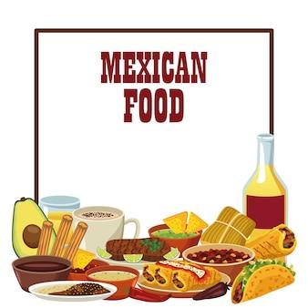 데킬라와 메뉴가있는 멕시코 음식 글자.