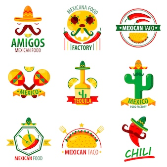 Mexican food logo emblems vector poster on white