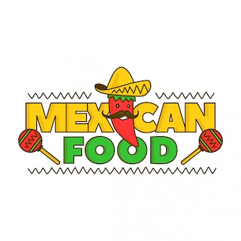 Mexican food logo for menu.  cartoon illustration. isolated on white . mexico pepper character