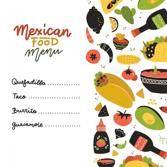 Mexican food menu design template. square banner set. mexican food cafe. flaty hand drawn illustration. fluer decorated with set of elements and lettering.