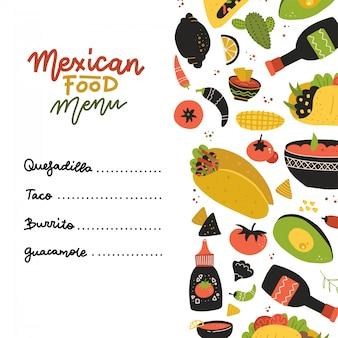 メキシコ料理のメニューデザインテンプレートです。正方形バナーセット。メキシコ料理カフェ。フラットな手描きイラスト。一連の要素とレタリングで飾られたフルーア。