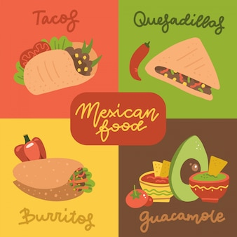 Mexican food menu mini posters set with traditional spicy meal.  flat hand drawn illustration of taco, quesadilla, guacamaleand burrito.