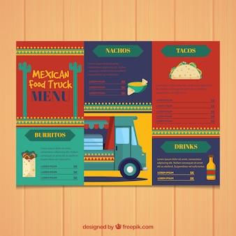 Меню мексиканской кухни с забавным стилем