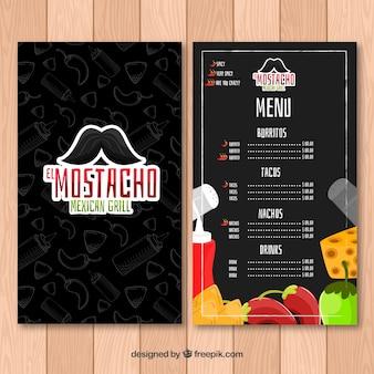 콧수염과 멕시코 음식 메뉴
