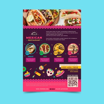 Mexican food poster template with photo