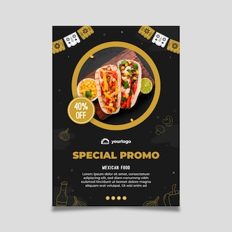 Mexican food poster template