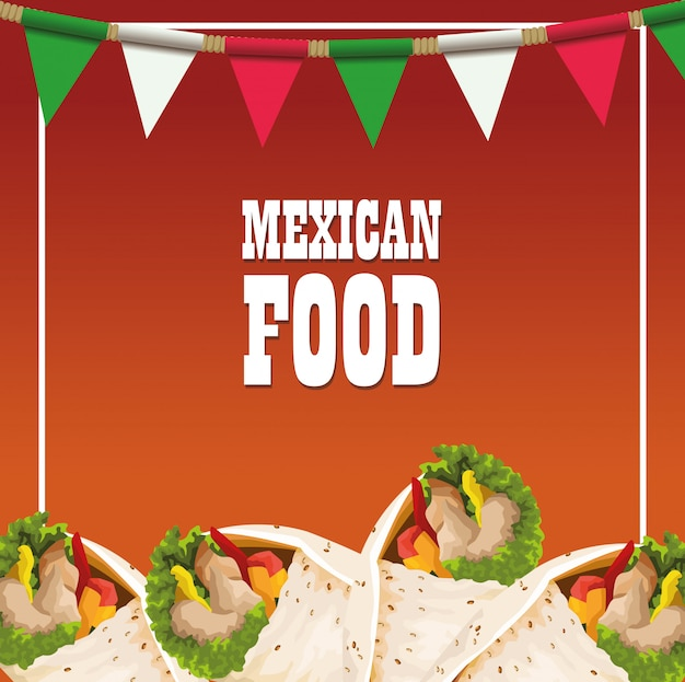 Mexican food poster with burritos