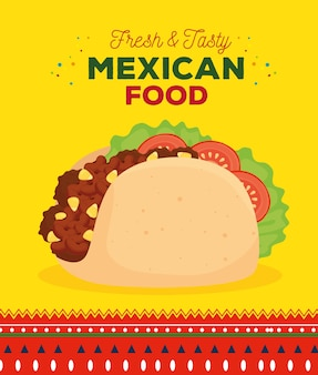 신선하고 맛있는 타코와 멕시코 음식 포스터