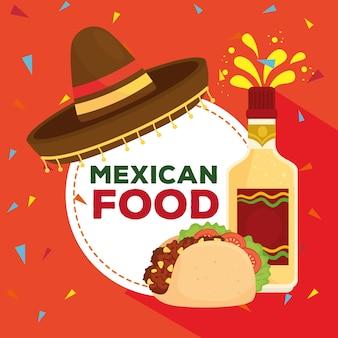 모자, 병 데킬라, 타코와 멕시코 음식 포스터 프리미엄 벡터
