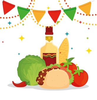 Mexican food poster with taco, vegetables, bottle tequila and garlands hanging