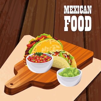 Mexican food poster with tacos