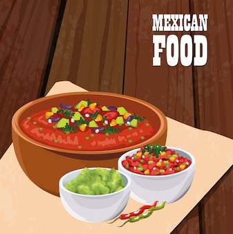 Mexican food poster with vegetables salad