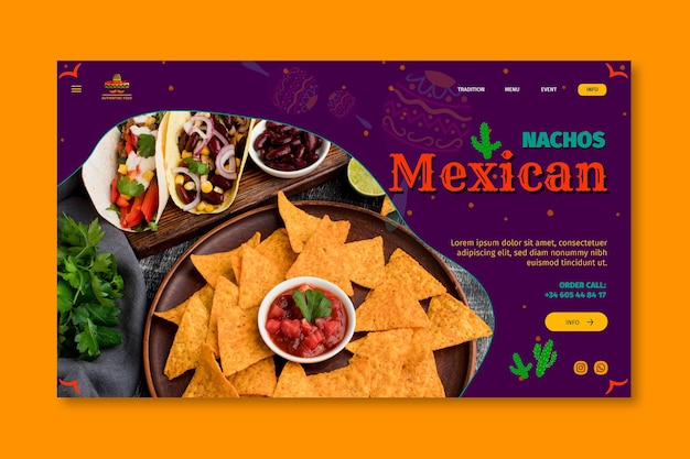 Mexican food restaurant landing page template
