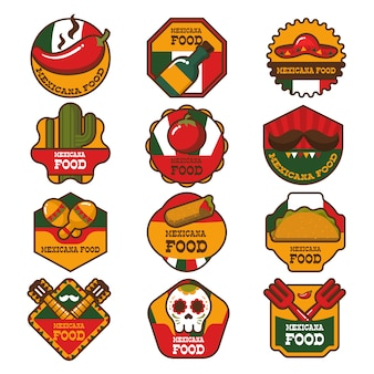 Mexican food restaurant logo and badges collection