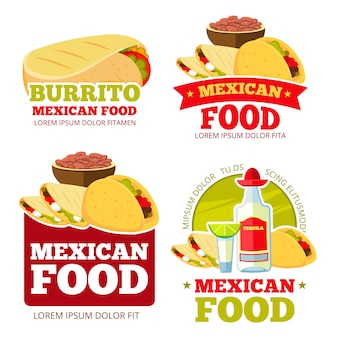 Mexican food restaurant logos set