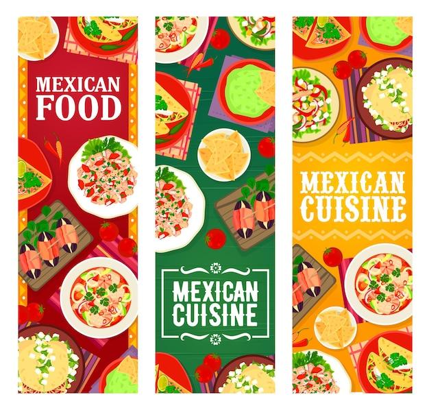 멕시코 음식 레스토랑 식사와 스낵 배너. 연어와 해산물 세비체, 나초를 곁들인 과카몰리, 베이컨과 대추를 곁들인 타파스, 초리조 타코, 고기 후추와 야채 샐러드, 쇠고기 또띠야 벡터