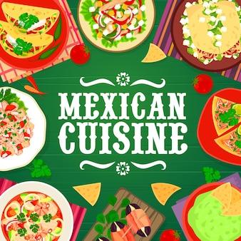 멕시코 음식 레스토랑 고기 식사, 해산물 및 야채 요리 메뉴 커버. 초리조 타코와 후추 샐러드, 쇠고기 토르티야, 타파스, 연어 세비체, 과카몰리 벡터. 멕시코 요리 스낵