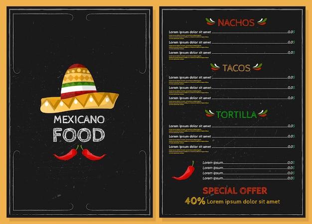 Mexican food restaurant menu.