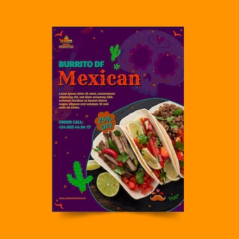 Mexican food restaurant vertical flyer template