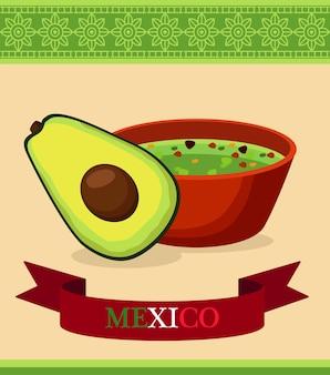 Ресторан мексиканской кухни с авокадо и гуакамоле