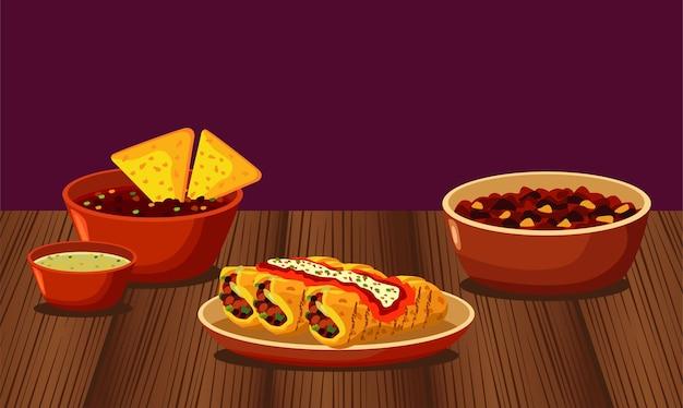 Ресторан мексиканской кухни с меню в деревянном столе