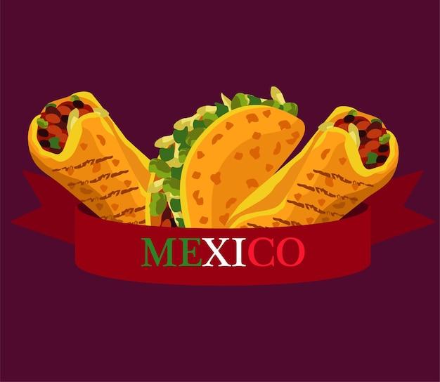 タコスとブリトーのあるメキシコ料理レストラン