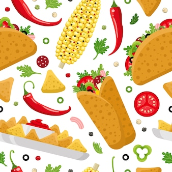 Mexican food seamless pattern. burrito, taco and nachos. colorful  background, cute style.