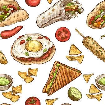 Mexican food seamless pattern