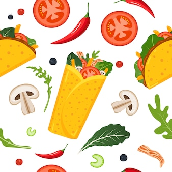 Mexican food seamless pattern.