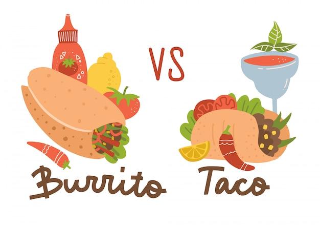 メキシコ料理セット。ブリトーvsタコス。ブリトー、タコス、チリ、マルガリータのカクテルとソースのカラーコレクション。