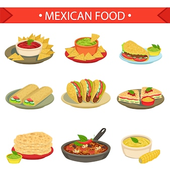 Mexican food signature dishes illustration set