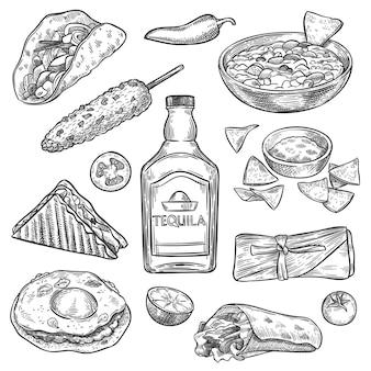 Мексиканская еда. эскиз мексиканский национальный напиток текила и традиционные блюда начо, энчилада и буррито, винтажные изолированные векторные набор тако. сэндвич, кукуруза, помидор и лайм для меню ресторана