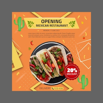 Mexican food square flyer template
