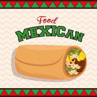 Mexican food taco poster vector illustration design