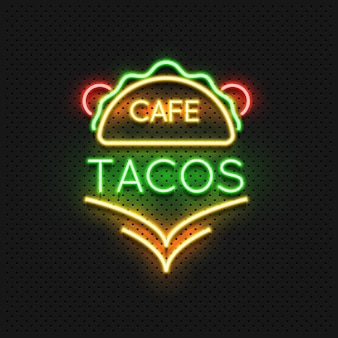Mexican food tacos cafe neon sign design