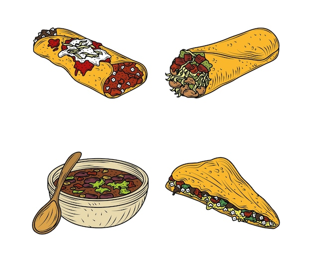 Mexican food traditional enchilada burrito quesadilla sauce, engraved color