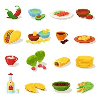 Mexican food traditional menu icon set